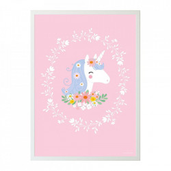 Poster multicolor din hartie 50x70 cm Unicorn A Little Lovely Company