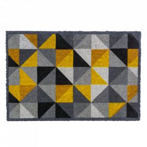Pres dreptunghiular multicolor din fibre de cocos pentru intrare 45x75 cm Dreieck Lako