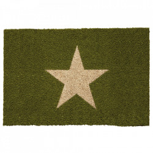Pres dreptunghiular verde din fibre de cocos pentru intrare 40x60 cm Star Lako