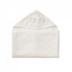 Prosop cu gluga alb din bumbac organic 70x130 cm Junior Off White Cam Cam
