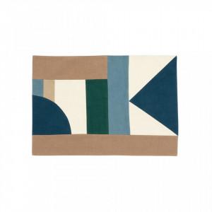 Protectie masa dreptunghiulara multicolora din bumbac 33x48 cm Patchwork Blue Mix Nordal