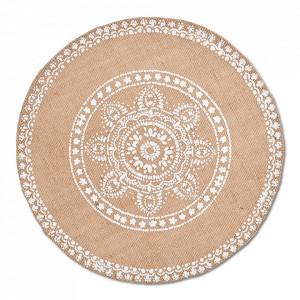 Protectie masa rotunda crem din in 38 cm Mandala Zeller