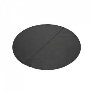 Protectie masa rotunda neagra din piele 90 cm Bistro Serax