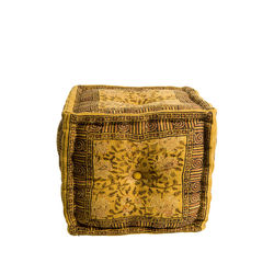 Puf galben din bumbac Indian Block Yellow Dutchbone