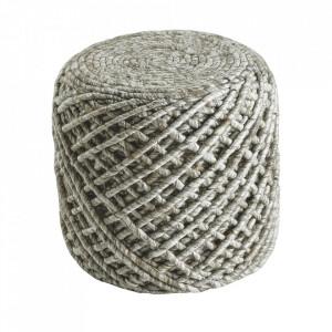 Puf rotund crem din lana si viscoza 40 cm Royal Obsession