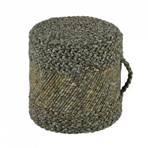 Puf rotund grej din lana si viscoza 40 cm Copa Obsession