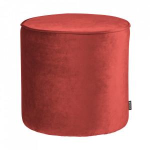 Puf rotund rosu din poliester 46 cm Sara Woood