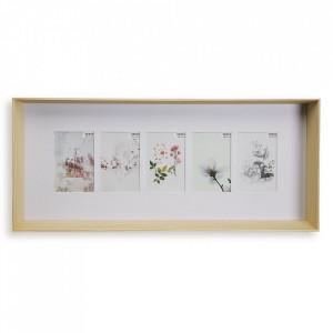 Rama foto maro din lemn pentru 5 fotografii 29,4x66,4 cm Denise Versa Home