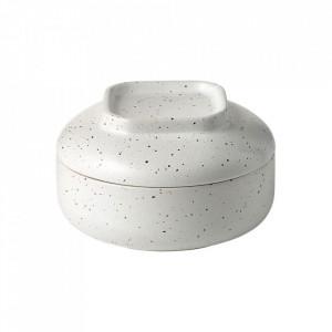 Recipient cu capac alb din ceramica 8x15 cm Forma Bolia