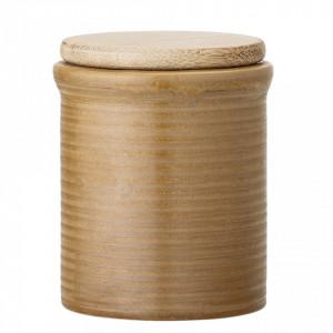 Recipient cu capac maro din ceramica si bambus Jar Bloomingville