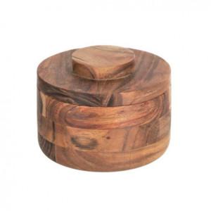 Recipient cu capac maro din lemn de salcam Castalia Kave Home