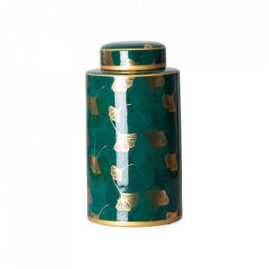 Recipient cu capac verde/auriu din ceramica 17x33 cm Alisa Vical Home