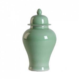Recipient cu capac verde din ceramica 30x56 cm Celline Vical Home