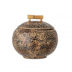 Recipient maro din lemn de bambus cu capac 15x15 cm Phoenix Bloomingville