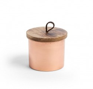 Recipient roz din metal cu capac din lemn Cassy Kave Home
