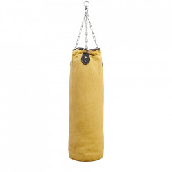 Sac de box decorativ galben din canvas 100 cm Punchbag Versmissen