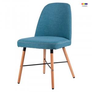 Scaun albastru din lemn de fag si textil Kalia Blue Somcasa
