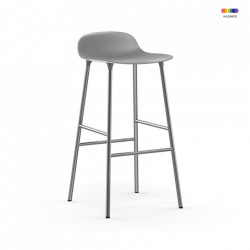 Scaun bar gri din polipropilena si otel Forms Chrome Normann Copenhagen