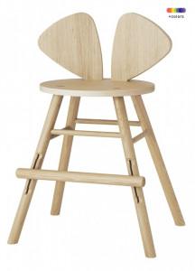 Scaun bar maro din lemn de stejar pentru copii Mouse Chair Nofred