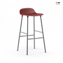 Scaun bar rosu din polipropilena si otel Forms Chrome Normann Copenhagen