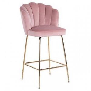 Scaun bar roz/auriu din catifea si inox Pippa Richmond Interiors