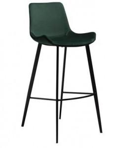 Scaun bar verde din catifea Hype Emerald Green Dan Form