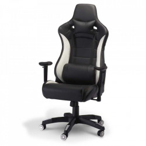 Scaun birou ajustabil negru/alb din poliuretan si plastic De Luxe Furnhouse