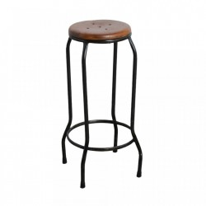 Scaun de bar maro/negru din lemn si fier Warung Raw Materials