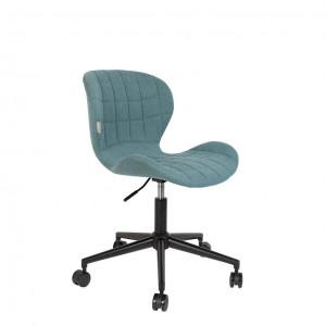 Scaun de birou ajustabil cu roti textil albastru OMG Zuiver