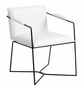 Scaun dining alb/negru din poliuretan si fier Vanilla Chair Nordal