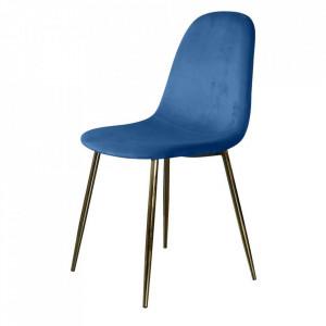 Scaun dining albastru din catifea si metal Josef Cobalt Blue Kraft Opjet Paris