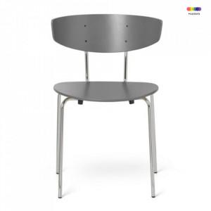 Scaun dining argintiu/gri din lemn si metal Herman Warm Grey Chrome Ferm Living