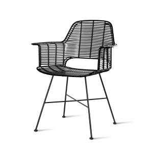 Scaun dining negru din fier si plastic pentru exterior Royce HK Living