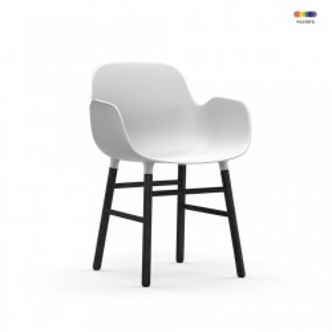 Scaun lounge alb/negru din polipropilena si lemn Form Normann Copenhagen