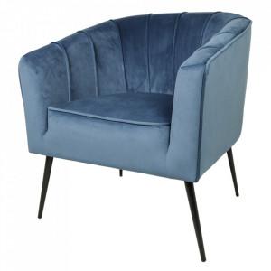 Scaun lounge albastru din catifea si metal Chester HSM Collection