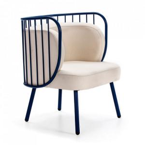 Scaun lounge albastru navy/bej din metal si textil Nabi Teulat