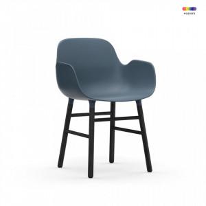 Scaun lounge albastru/negru din polipropilena si lemn Form Normann Copenhagen