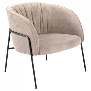 Scaun lounge bej/negru din textil si metal Scandia Sand Black Actona Company