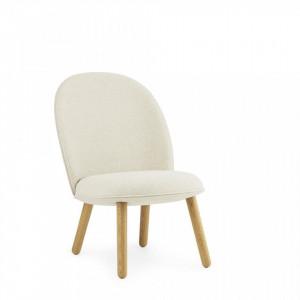 Scaun lounge crem din lemn de stejar si textil Flax Normann Copenhagen