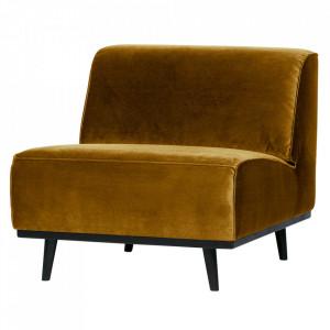 Scaun lounge galben miere/negru din catifea si lemn Statement Be Pure Home
