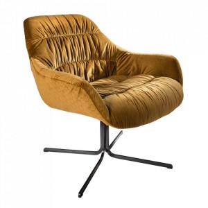 Scaun lounge galben mustar din catifea si metal Dutch Invicta Interior