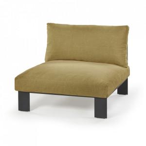 Scaun lounge galben mustar din in si aluminiu Athena Serax