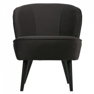 Scaun lounge gri antracit/negru din lemn de mesteacan si catifea Sara Woood
