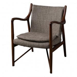 Scaun lounge gri/maro din poliestersi lemn de stejar Connel Denzzo