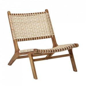 Scaun lounge maro din ratan si lemn Keila Bloomingville