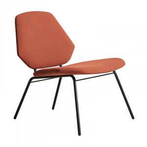 Scaun lounge maro ruginiu/negru din textil si metal Lean Woud