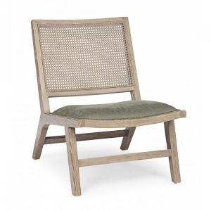 Scaun lounge maro/verde din lemn si ratan Cortilia Bizzotto