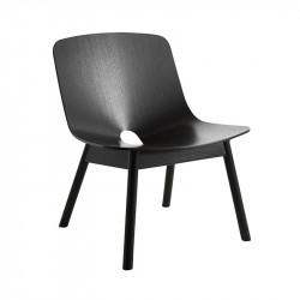 Scaun lounge negru din lemn de stejar Mono Woud