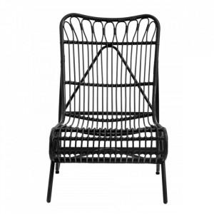 Scaun lounge pentru exterior negru din polietilena si otel Eva Nordal