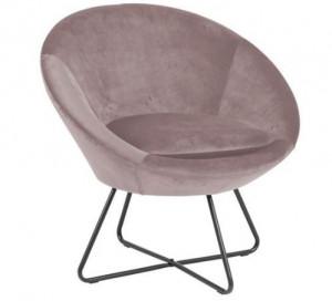 Scaun lounge roz/negru din textil si metal Center Dusty Rose Actona Company